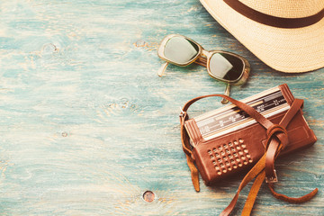 Old retro sunglasses and radio