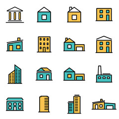 Trendy flat line icon pack for designers and developers. Vector line buildings icon set, buildings icon object, buildings icon picture, buildings icon image - stock vector