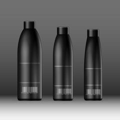Realistic Black Cosmetics bottle can, Deodorant, Air Freshener. Vector illustration
