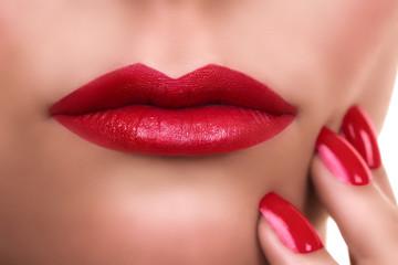 Beautiful Woman Lip Cosmetic Makeup Lipstick. Kisses