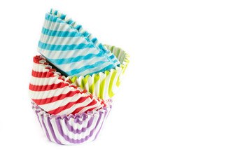 Cupcake liners on white background.
