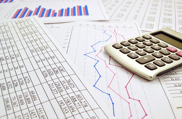 Photo the calculator  with financial the numbers  and graph