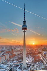 Poster Berlin The Television tower in Berlin at sunset