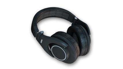 Black stereo headphones, audio equipment isolated on white background