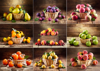 collage of various fruits on wooden table
