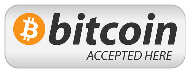 "Bitcoin icon banner with text ""bitcoin accepted here"". Flat design vector illustration."