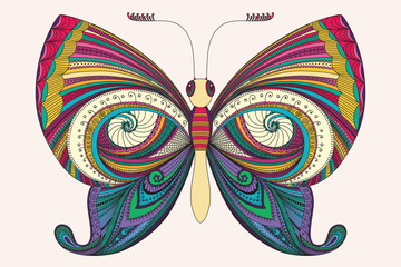 Hand drawn zentangle butterfly. Decorative abstract doodle design element. Vector illustration