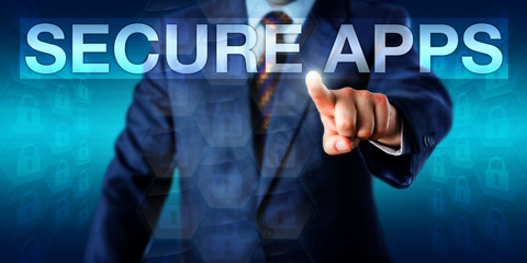 Entrepreneur Selecting SECURE APPS Onscreen