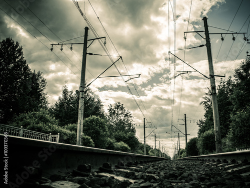 Railway receding into the distance  Along the railway poles