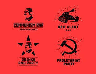 Communism style logos restaurant bar design vector template. Dictator, star and tank silhouette for night club party