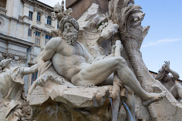 Fountain of the Four Rivers (Fountain of the Four Rivers) - Piazza Navona - Rome