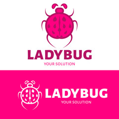 Ladybug logo. Pink options. Brand  logotype.