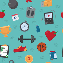 Fitness Seamless Pattern. Vector Background with Fitness Equipment