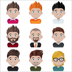 Set of vector avatar faces with different hairstyles and clothing