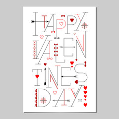 Happy Valentines Day Lettering poster. Typographic Background