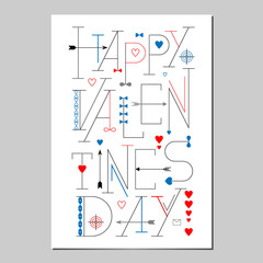 Happy Valentines Day Lettering poster. Typographic Background.