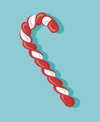 image of candy cane on a green background