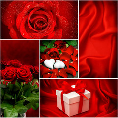 Red roses. Hearts. Gift box. Valentines Day