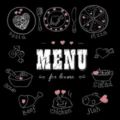 Menu for lovers. Foods with hearts. Love romantic. For invitations cards.Valentines day, Wedding.Doodle Hand drawn. Chalkboard