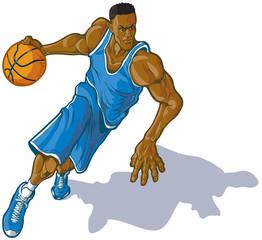 Male Basketball Player Dribbling Ball Vector Illustration