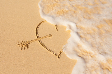 Wave washes over heart in the sand. Love  & heart break concept.