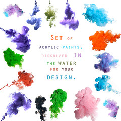 Set of acrylic paints, dissolved in the water for your design
