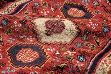 Close up of a persian shiraz oriental carpet