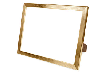 Golden aluminum empty photo frame on white background