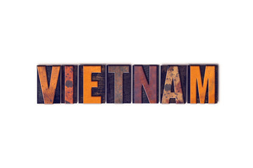 Vietnam Concept Isolated Letterpress Type