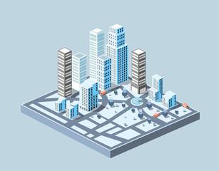 Large urban area isometric urban buildings
