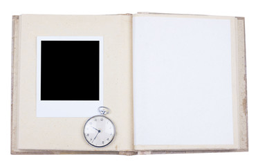 Photo album with photo frame and old pocket watch