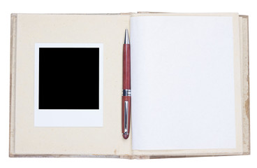 Photo album with photo frame and wooden ballpoint