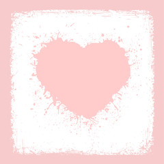 Paint Heart from vintage texture paper Valentines day card vector background