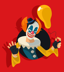 Scary clown. Vector flat illustration