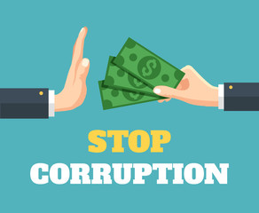 Stop corruption. Vector flat illustration