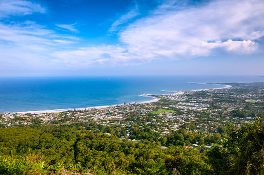 Aerial View of the Coastal City of Wollongong in Australia