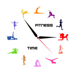time for fitness concept, clock, icons, vector illustration