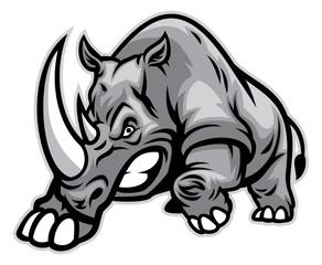 Angry rhino ready to ram