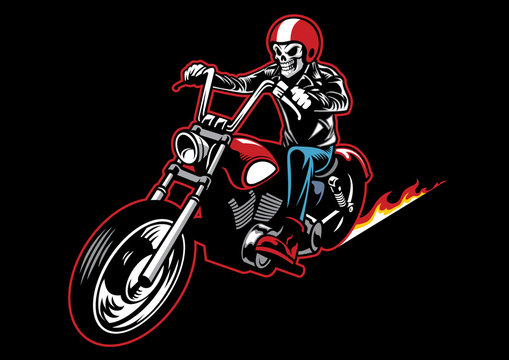 skull wearing a leather biker jacket and ride a motorcycle