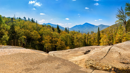 Algonquin Peak as viewed from Indian Falls along Mt Marcy hiking trail. Algonquin Peak is the second highest mountain in New York, and one of the 46 Adirondack High Peaks in Adirondack Park