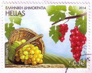 GREECE - CIRCA 2014: A stamp printed in Greece, shows grapes fruits, circa 2014