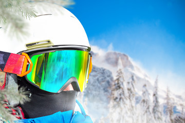 Portrait of skier in high mountains