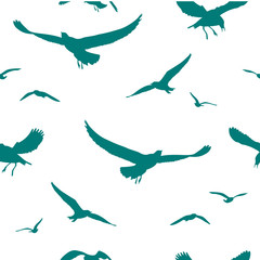 Seagulls seamless pattern, vector illustration