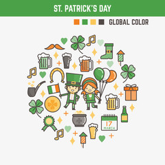 infographic elements for kids about saint patrick's day