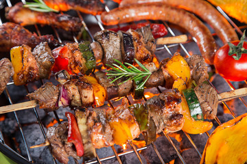 Barbecue grill with various kinds of meat.