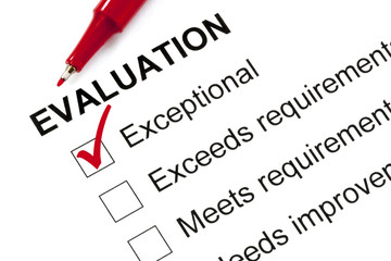 Evaluation Form Marked Exceptional
