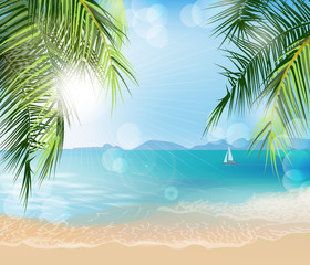 Summer holidays  vector   illustration. Beach, palm trees beautiful panoramic sea view, with clean water & blue sky. Template Vector.