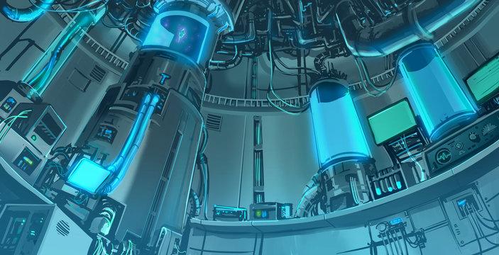 Cartoon illustration background scene of massive science laboratory in futuristic and sci-fi fantasy interior layout