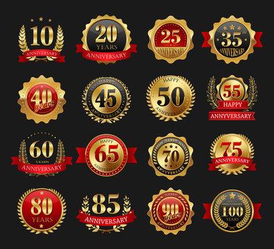 Anniversary golden signs set