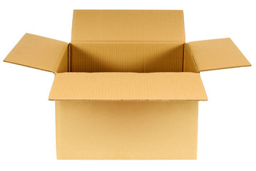 Open plain brown blank cardboard box isolated on white background